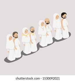 Muslim People, Moslem Couple Wearing Ihram Umrah Hajj Illustration