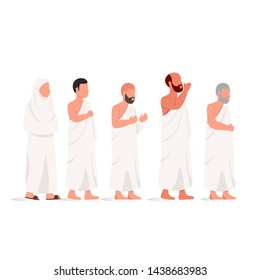 Muslim People Wearing Ihram, Practicing Hajj and Umrah Islamic Pilgrimage to Mecca Flat Illustration