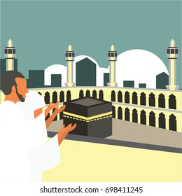 Muslim pilgrims perform Hajj / Umrah (pilgrimage to Mecca) around Kaaba at the Haram Mosque using Ihram (white garment). Cartoon Character. Vector Illustration