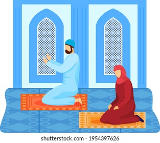 Muslim pray, church people, religious building, family sit rug, culture background, design, flat style vector illustration.