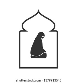 Muslim Prayer Icon. Shalat Illustration : Islamic Worship, As Simple Vector Sign & Trendy Symbol for Design and  Religion Websites, Presentation or Application.
