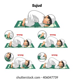 Muslim Prayer Position Guide Step by Step Perform by Boy Prostrating and Position of The Feet with Wrong Position Vector Illustration