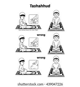 Muslim Prayer Position Guide Step by Step Perform by Boy Sitting and Raising The Index Finger with Wrong Position Outline Version Vector Illustration