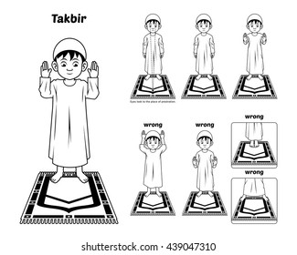 Muslim Prayer Position Guide Step by Step Perform by Boy Standing and Raising The Hands with Wrong Position Outline Version Vector Illustration