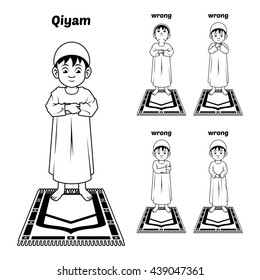 Muslim Prayer Position Guide Step by Step Perform by Boy Standing and Placing Both Hands with Wrong Position Outline Version Vector Illustration
