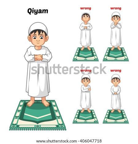 muslim prayer position guide step by のベクター画像素材