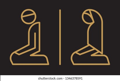 Muslim Prayer Room Symbol - Gold Line on Black Background