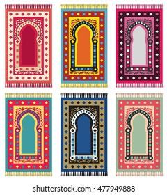 Muslim Prayer Rug. Islamic Textile. Mosque Flooring. Praying Mats. Middle Eastern pattern. Vector set.