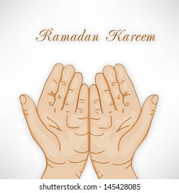 Muslim praying hands concept for Ramadan Kareem.