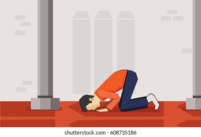 Muslim praying inside mosque ..vector illustration