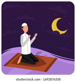 muslim praying at night. in ramadan holy month. islamic people character and night sky vector graphic. flat illustration