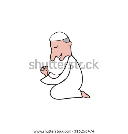 muslim praying ramadan cartoon drawing のベクター画像素材