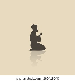Muslim praying symbol - vector illustration