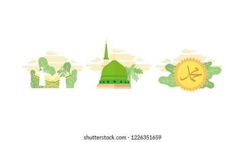Muslim and Quran, Nabawi mosque, Muhammad letter, vector pack. Tiny flat Vector Illustration, Suitable For Wallpaper, Banner, Background, Card, Web Landing Page