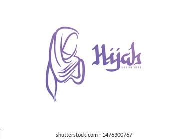 Muslim Scarf, hijab logo designs, vector illustration