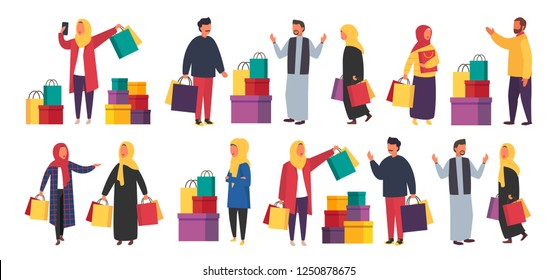 Muslim shopping women and men with purchases. Crowd of arab or asian people with shopping bags during sale in mall. Hijab fashion vector characters set.