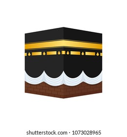 Muslim shrine of Sharif Kaaba, in form of cubic construction in courtyard of mosque in Mecca. Prayer place, communion with God through the Koran and holy speeches. Vector illustration.