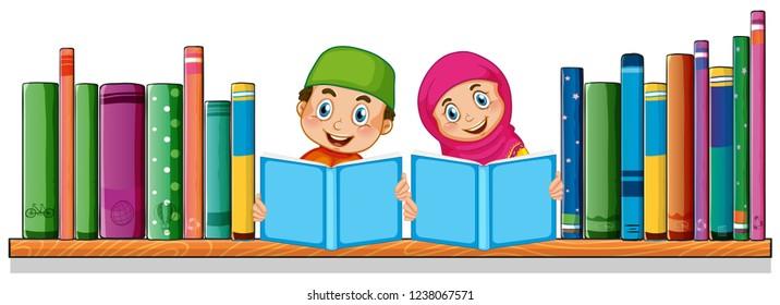 Muslim student reading book illustration