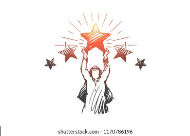 Muslim, success, rating, achievement, businessman concept. Hand drawn Arab businessman with star in his hands concept sketch. Isolated vector illustration.