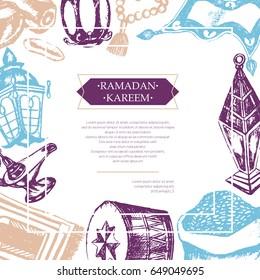 Muslim Symbols - color vector hand drawn vintage Ramadan Kareem postcard with copy space. Realistic zakat al-fitr, dates, beads, drum, lamp, prayer rug, flying magic carpet, lantern. Islamic culture.