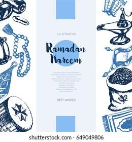 Muslim Symbols - color vector hand drawn vintage Ramadan banner template with copy space. Realistic zakat al-fitr, dates, beads, drum, lamp, prayer rug, flying magic carpet, lantern. Islamic culture.