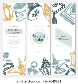 Muslim Symbols - color vector hand drawn three pieces banner template with oriental motifs. Realistic zakat al-fitr, dates, beads, drum, lamp, prayer rug, flying magic carpet, lantern.