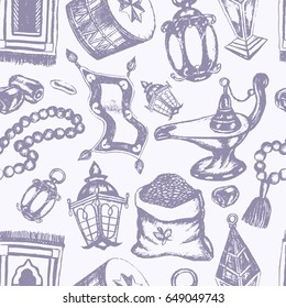 Muslim Symbols - vintage vector hand drawn seamless tileable pattern. Realistic zakat al-fitr, dates, beads, drum, lamp, prayer rug, flying magic carpet, lantern. Islamic culture.