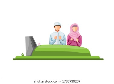 muslim visit and praying in front tomb at cemetry. islam ritual in grave concept in cartoon illustration vector