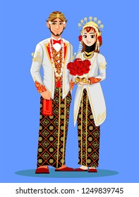 Muslim Wedding Couple with Java Culture and white red color.