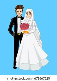 Muslim wedding couple with roses bucket