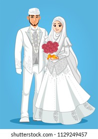 Muslim wedding Couple with White dress and White Suit.