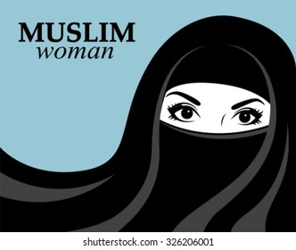 Muslim woman in black hijab and nikab on a blue background