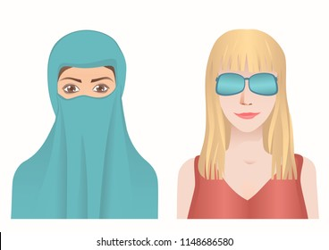 The Muslim woman covers the face and wear a niqab. The secular woman covers her eyes with glasses. Different cultures traditional clothing. Vector illustration EPS-8.