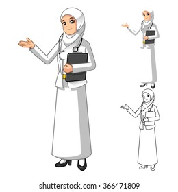 Muslim Woman Doctor Wearing White Veil or Scarf with Welcoming Hands Cartoon Character Vector Illustration