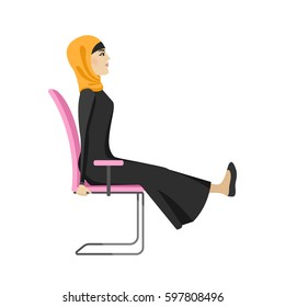 Muslim woman is doing exercises on the office chair. Arab woman in healthy pose. Vector illustration.