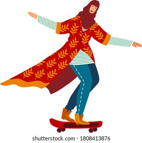 Muslim woman doing sports, girl skateboarder in traditional hijab clothes, cartoon style vector illustration, isolated on white. Extreme skateboarding, active lifestyle, culture without stereotypes.