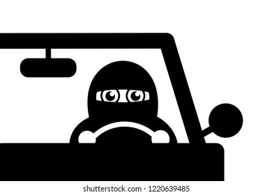Muslim woman is driving a car. Female driver is covered by traditional veil - independent and emancipated transportation lifestyle - permission to drive auto and vehicle. Vector illustration