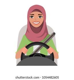 Muslim woman driving a car. Muslim woman wearing hijab
