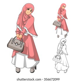 Muslim Woman Fashion Wearing Pink Veil or Scarf and Dress Outfit with Holding a Bag Include Flat Design and Outlined Version Cartoon Character Vector Illustration