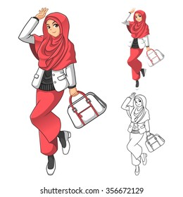 Muslim Woman Fashion Wearing Pink Veil or Scarf with Holding a Bag and Casual Outfit Include Flat Design and Outlined Version Cartoon Character Vector Illustration