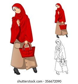 Muslim Woman Fashion Wearing Red Veil or Scarf with Holding a Bag Include Flat Design and Outlined Version Cartoon Character Vector Illustration