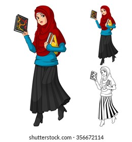 Muslim Woman Fashion Wearing Red Veil or Scarf with Holding a Books Include Flat Design and Outlined Version Cartoon Character Vector Illustration