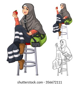 Muslim Woman Fashion Wearing Veil or Scarf with Sit Pose and Holding an Apple and Green Bag in Her Arms Include Flat Design and Outlined Version Cartoon Character Vector Illustration