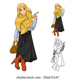 Muslim Woman Fashion Wearing Yellow Veil or Scarf with Holding a Brown Bag and Stylish Outfit Include Flat Design and Outlined Version Cartoon Character Vector Illustration