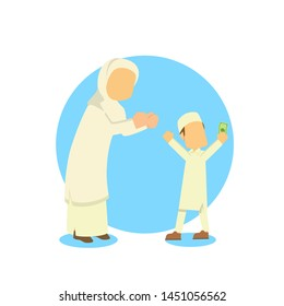 muslim woman give money to his son vector illustration