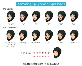 Muslim woman with hijab cartoon character design for animating lip sync and expressions, vector illustration.
