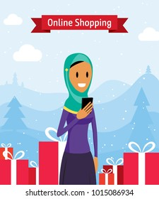 Muslim Woman in Hijab Holding Smartphone Shopping for Presents. Lady Buying Gifts Online, Modern Customer Shops on Internet Vector Art Design Illustration