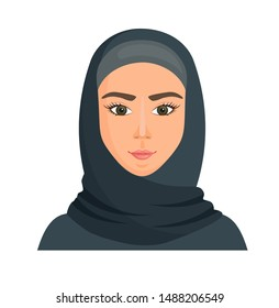 Muslim woman in hijab. Portrait of a young arab girl in traditional dress. Vector avatar in cartoon style.