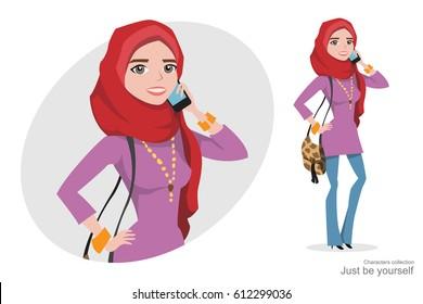 Muslim woman in hijab talking on the phone.