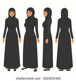 muslim woman illustration, vector arab girl character,  saudi cartoon female, front, side and back view of islamic person